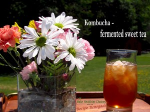 Glass of Kombucha Flowers with words Recipe Renegade